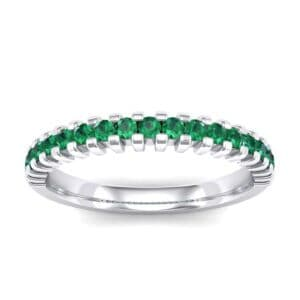 Thin Square Shared Prong Emerald Ring (0.38 Carat)