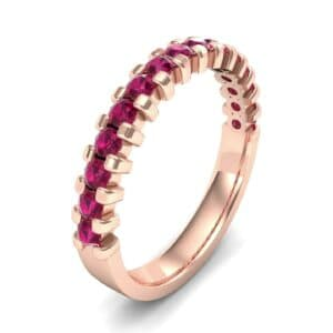 Square Shared Prong Ruby Ring (0.69 Carat)