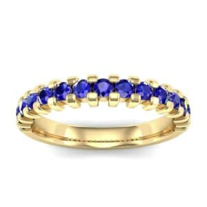 Square Shared Prong Blue Sapphire Ring (0.69 Carat)