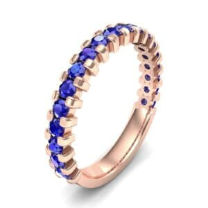 Square Shared Prong Blue Sapphire Ring (0.88 Carat)
