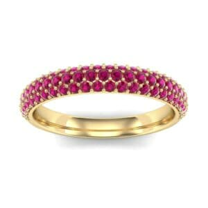 Three-Row Pave Ruby Ring (0.76 Carat)