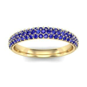 Three-Row Pave Blue Sapphire Ring (0.76 Carat)