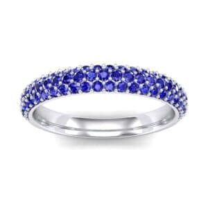 Three-Row Pave Blue Sapphire Ring (0.76 Carat)