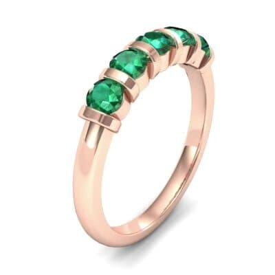 Round Bar-Set Five-Stone Emerald Ring (0.8 CTW)