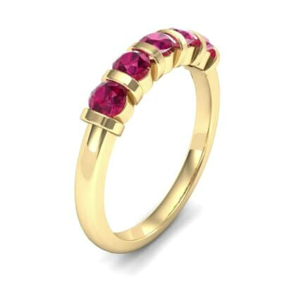 Round Bar-Set Five-Stone Ruby Ring (0.8 CTW)