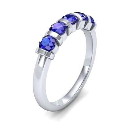 Round Bar-Set Five-Stone Blue Sapphire Ring (0.8 CTW)