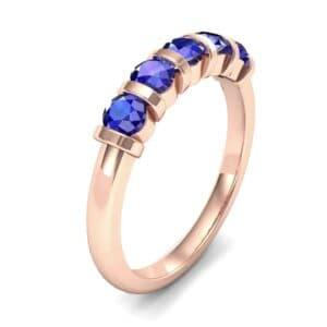 Round Bar-Set Five-Stone Blue Sapphire Ring (0.8 Carat)
