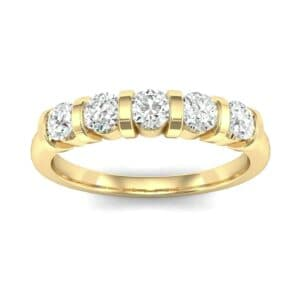 Round Bar-Set Five-Stone Diamond Ring (0.55 Carat)