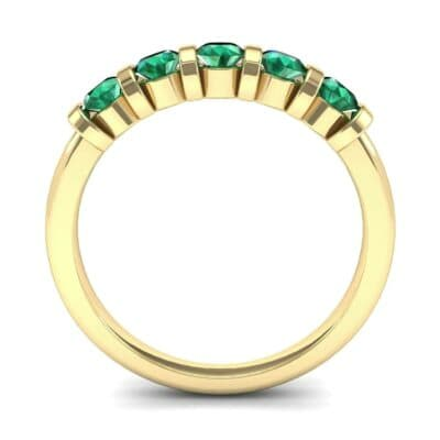 Round Bar-Set Five-Stone Emerald Ring (0.8 CTW) Side View
