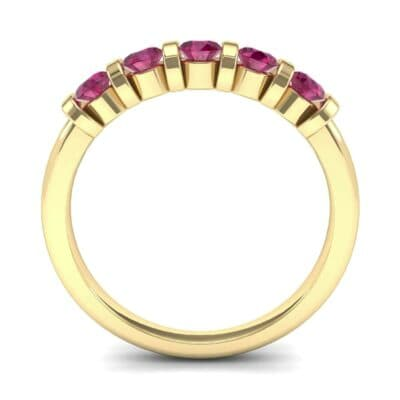 Round Bar-Set Five-Stone Ruby Ring (0.8 CTW) Side View