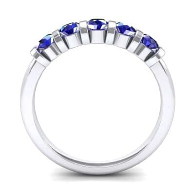 Round Bar-Set Five-Stone Blue Sapphire Ring (0.8 CTW) Side View