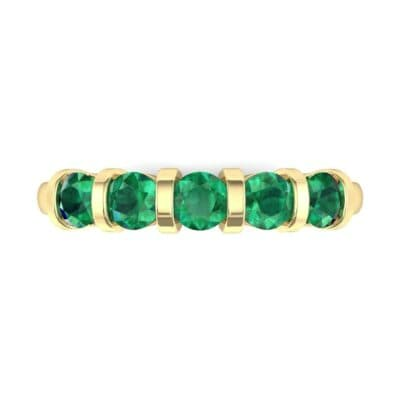 Round Bar-Set Five-Stone Emerald Ring (0.8 CTW) Top Flat View