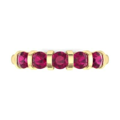 Round Bar-Set Five-Stone Ruby Ring (0.8 CTW) Top Flat View