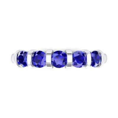 Round Bar-Set Five-Stone Blue Sapphire Ring (0.8 CTW) Top Flat View