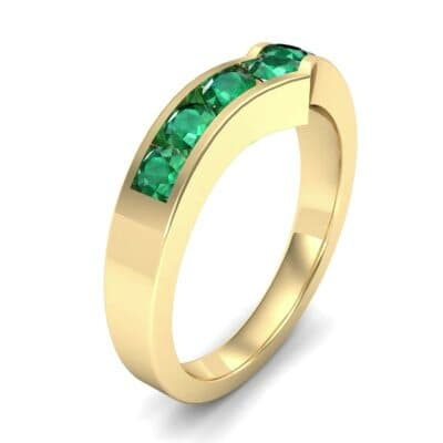 Channel-Set Peak Emerald Ring (0.65 CTW) Perspective View