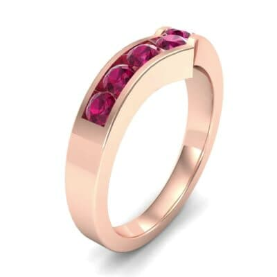 Channel-Set Peak Ruby Ring (0.65 CTW) Perspective View