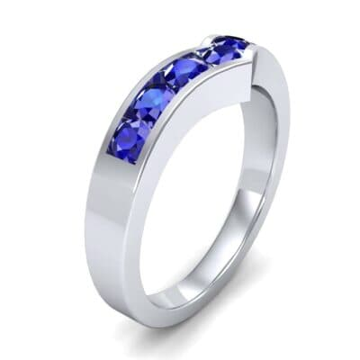 Channel-Set Peak Blue Sapphire Ring (0.65 CTW) Perspective View