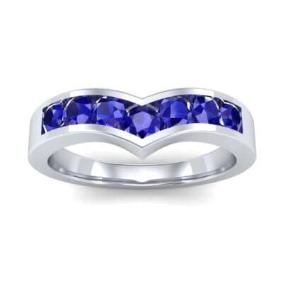 Channel-Set Peak Blue Sapphire Ring (0.65 CTW) Top Dynamic View