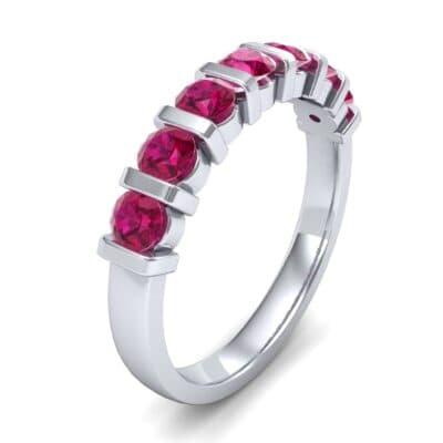 Bar-Set Seven-Stone Ruby Ring (1.12 Carat)