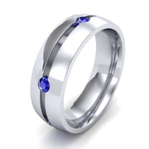 Grooved Five-Stone Blue Sapphire Ring (0.33 Carat)