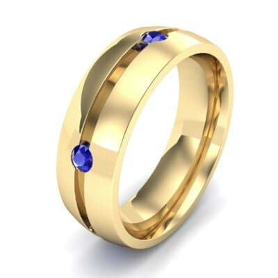 Grooved Five-Stone Blue Sapphire Ring (0.33 CTW) Perspective View