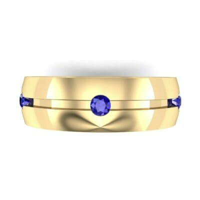 Grooved Five-Stone Blue Sapphire Ring (0.33 CTW) Top Flat View