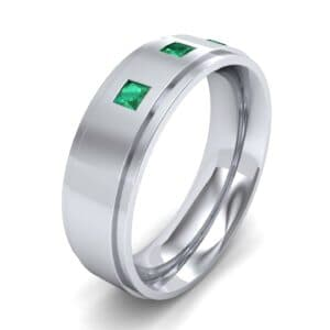Stepped Edge Princess-Cut Trio Emerald Ring (0.18 Carat)