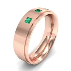 Stepped Edge Princess-Cut Trio Emerald Ring (0.18 Carat)