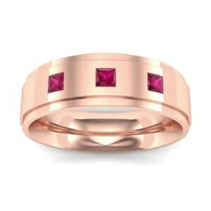 Stepped Edge Princess-Cut Trio Ruby Ring (0.18 Carat)