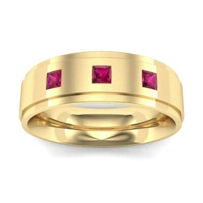 Stepped Edge Princess-Cut Trio Ruby Ring (0.18 Carat)