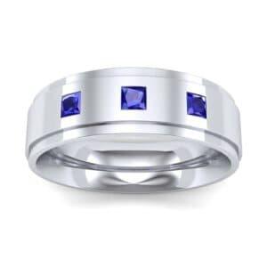 Stepped Edge Princess-Cut Trio Blue Sapphire Ring (0.18 Carat)