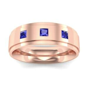 Stepped Edge Princess-Cut Trio Blue Sapphire Ring (0.18 Carat)