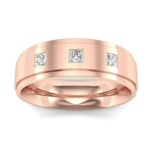 Stepped Edge Princess-Cut Trio Diamond Ring (0.16 Carat)