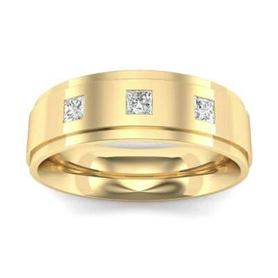 Stepped Edge Princess-Cut Trio Diamond Ring (0.16 Carat)