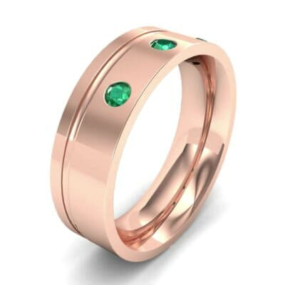 Round-Cut Trio Emerald Ring (0.2 CTW) Perspective View