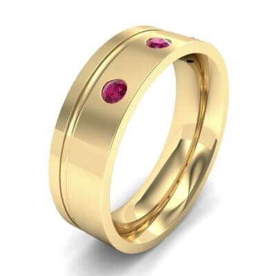 Round-Cut Trio Ruby Ring (0.2 CTW) Perspective View