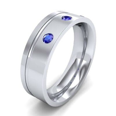 Round-Cut Trio Blue Sapphire Ring (0.2 CTW) Perspective View