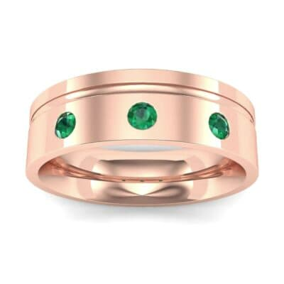 Round-Cut Trio Emerald Ring (0.2 CTW) Top Dynamic View