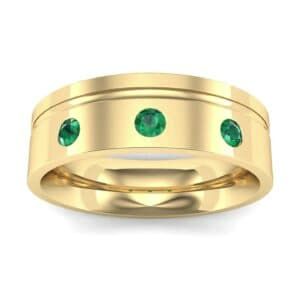 Round-Cut Trio Emerald Ring (0.2 Carat)