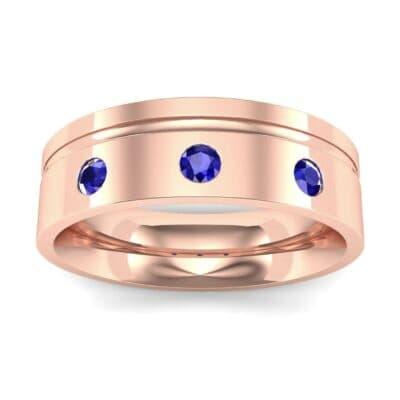 Round-Cut Trio Blue Sapphire Ring (0.2 CTW) Top Dynamic View