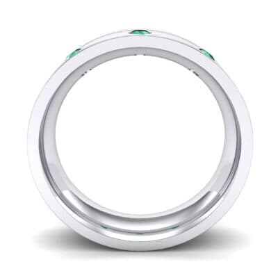 Round-Cut Trio Emerald Ring (0.2 CTW) Side View