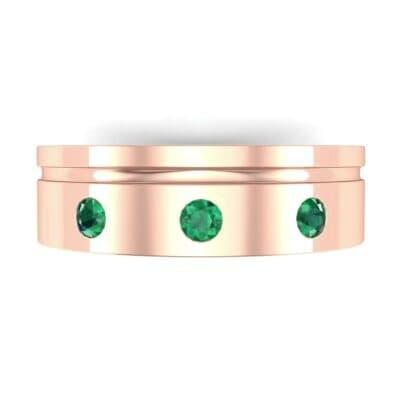 Round-Cut Trio Emerald Ring (0.2 CTW) Top Flat View