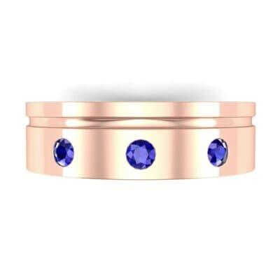Round-Cut Trio Blue Sapphire Ring (0.2 CTW) Top Flat View