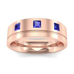 Princess-Cut Trio Blue Sapphire Ring (0.27 Carat)
