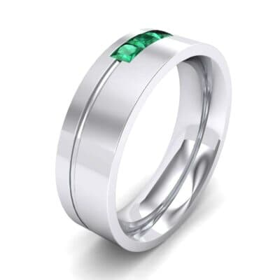 Channel-Set Trio Emerald Ring (0.27 Carat)
