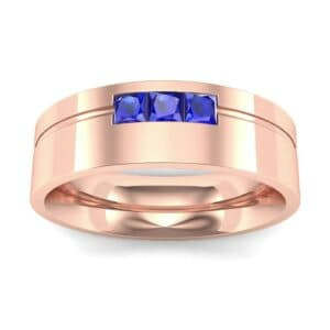 Channel-Set Trio Blue Sapphire Ring (0.27 Carat)