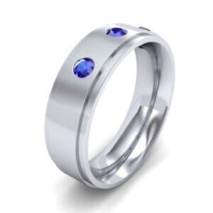 Stepped Edge Round-Cut Trio Blue Sapphire Ring (0.28 Carat)