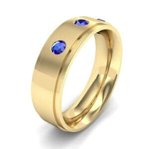 Stepped Edge Round-Cut Trio Blue Sapphire Ring (0.28 Carat)