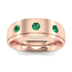 Stepped Edge Round-Cut Trio Emerald Ring (0.28 Carat)