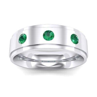 Stepped Edge Round-Cut Trio Emerald Ring (0.28 Carat)